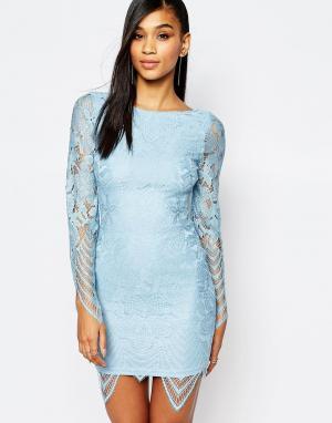 Rare Кружевное платье. Цвет: синий