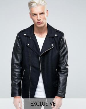 Black Dust Шерстяная байкерская куртка с кожаными рукавами. Цвет: черный
