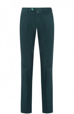 Хлопковые брюки прямого кроя Kiton. Цвет: зеленый