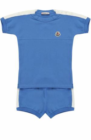 Комплект из футболки и шорт эластичного хлопка с контрастной отделкой Moncler Enfant. Цвет: голубой