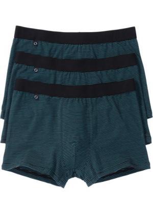 Трусы-боксеры (3 шт.) (черный/сине-зеленый) bonprix. Цвет: черный/сине-зеленый