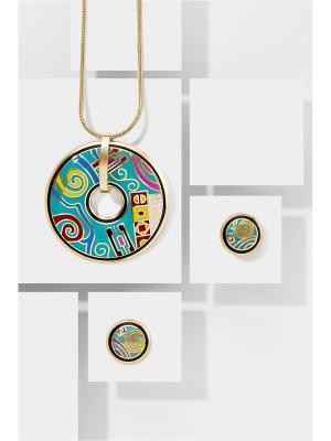 Набор украшений Символика Счастья: цепочка с кулоном и серьги Nothing but Love. Цвет: золотистый, бирюзовый, желтый