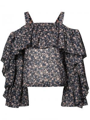 Блузка с цветочным принтом Robert Rodriguez. Цвет: чёрный