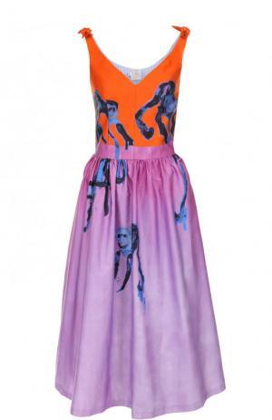 Приталенное хлопковое платье-миди с принтом Stella Jean. Цвет: разноцветный