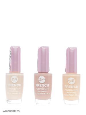 Bell Товар Спайка лак для ногтей устойчивый  french manicure nail т3+т2+т12. Цвет: светло-бежевый, бежевый