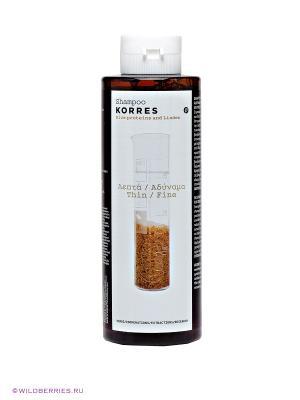 Шампунь для ломких волос Korres. Цвет: прозрачный