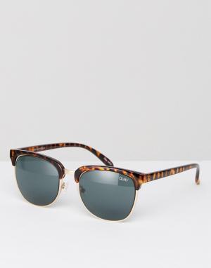 Quay Australia Солнцезащитные очки в стиле ретро Flint. Цвет: коричневый