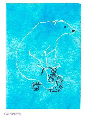 Обложка для автодокументов Мишка на велосипеде Mitya Veselkov. Цвет: бирюзовый
