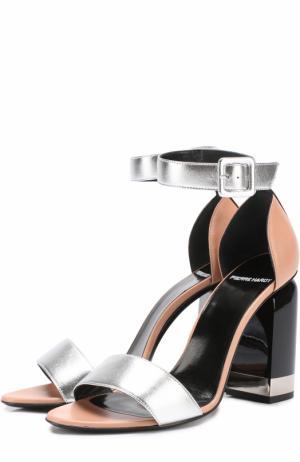 Кожаные босоножки на фигурном каблуке Pierre Hardy. Цвет: серебряный