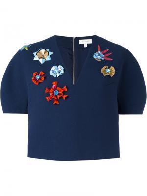 Структурированный декорированный укороченный пиджак Delpozo. Цвет: синий