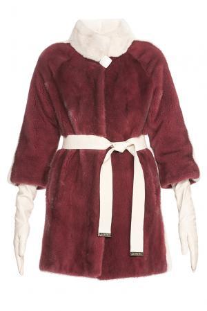 Шуба из меха норки KOPENHAGEN FUR с поясом и перчатками 181519 Gilberti. Цвет: красный