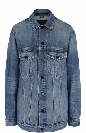 Удлиненная джинсовая куртка с потертостями Denim X Alexander Wang. Цвет: голубой