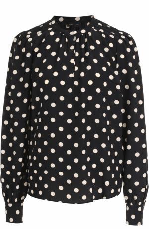 Шелковая блуза свободного кроя в горох Marc Jacobs. Цвет: черно-белый