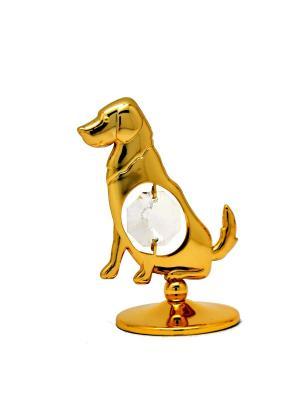 Фигурка Собака CRYSTOCRAFT. Цвет: золотистый