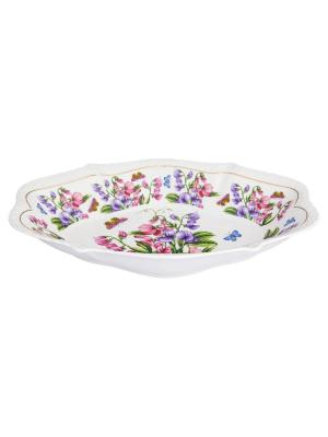 Блюдо Душистый горошек Elan Gallery. Цвет: розовый, зеленый, фиолетовый