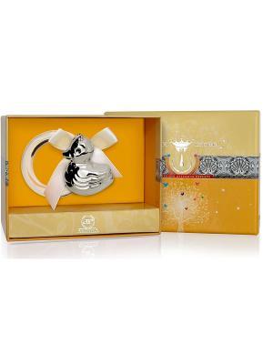 Погремушка Утка на кольце пр.925+футляр АргентА. Цвет: серебристый