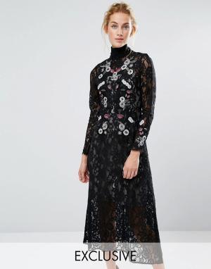 Hope and Ivy Кружевное платье миди с вышивкой &. Цвет: черный