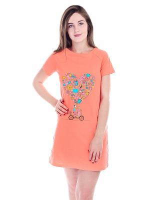 Ночная сорочка Малина. Цвет: светло-оранжевый