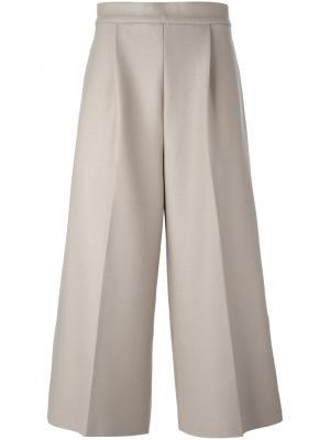 Укороченные широкие брюки 08Sircus. Цвет: телесный