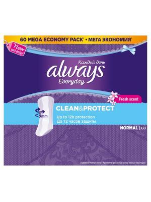 Always каждый день Clean & Protect ежедневные гигиенические прокладки нормал ароматизированные 60 шт. Цвет: темно-фиолетовый, голубой