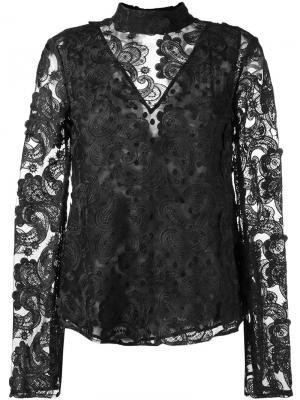 Блузка с вышивкой Perseverance London. Цвет: чёрный