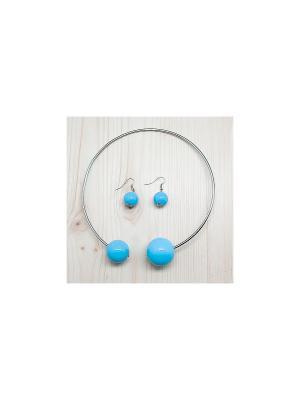 Комплект украшений Pair Duo (серебро с голубым) Kawaii Factory. Цвет: голубой