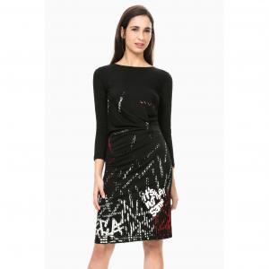 Платье прямое с длинными рукавами, Vest Castalia DESIGUAL. Цвет: черный