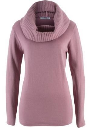 Пуловер 2 в 1 удлиненного дизайна с шалью (фиолетовый матовый) bonprix. Цвет: фиолетовый матовый
