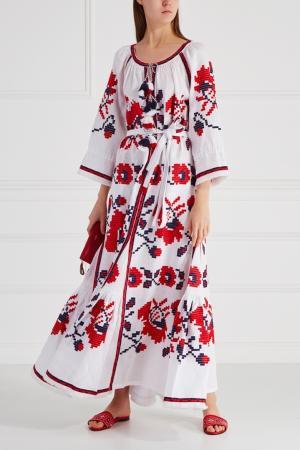 Льняное платье Panels Poppy Vita Kin. Цвет: белый, красный