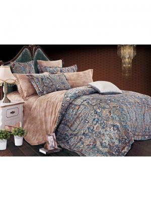 Комплект постельного белья ROMEO AND JULIET. Цвет: темно-синий, бледно-розовый, персиковый