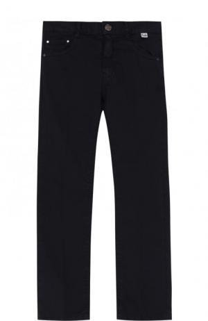 Хлопковые брюки с эластичной вставкой на поясе Il Gufo. Цвет: синий