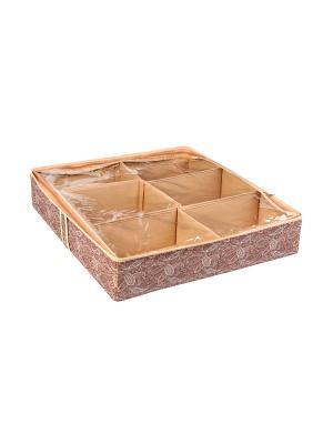 Короб для обуви, на 6 ячеек 56х52х12см Русский Шик 1237 COFRET. Цвет: бежевый, коричневый