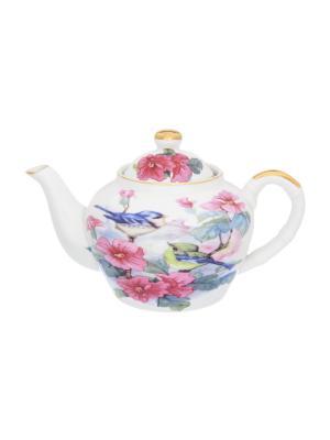 Чайник Синички в цветах Elan Gallery. Цвет: розовый, белый, голубой
