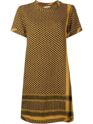 Платье с короткими рукавами Cecilie Copenhagen. Цвет: жёлтый и оранжевый