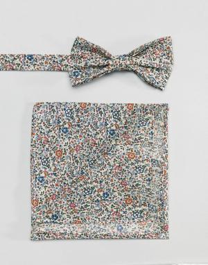 Gianni Feraud Галстук-бабочка и платок для нагрудного кармана с принтом Ferau. Цвет: мульти