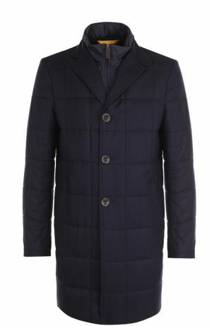 Утепленное шерстяное пальто с подстежкой Canali. Цвет: темно-синий