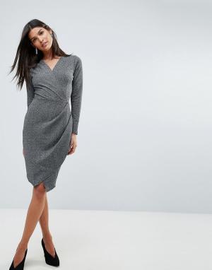 Closet London Платье с V-образным вырезом и запахом. Цвет: серый