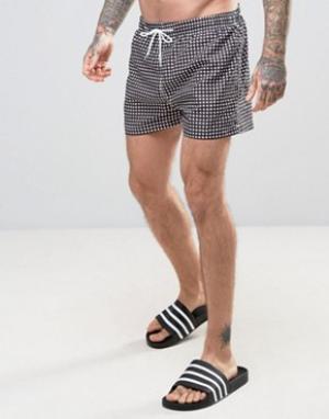 Kiss This Монохромные шорты для плавания в клеточку. Цвет: черный