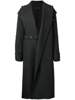 Пальто с ремнем на талии Proenza Schouler. Цвет: серый