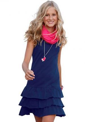 , платье с воланом для девочек CFL. Цвет: синий