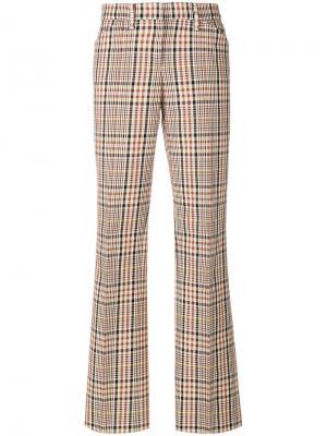 Расклешенные брюки в клетку Nº21. Цвет: телесный