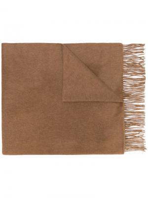 Шаль с бахромой N.Peal. Цвет: коричневый