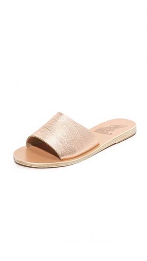 Сандалии без застежки Taygete Ancient Greek Sandals. Цвет: розовый металл/песочный