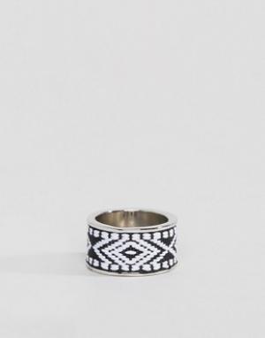 Icon Brand Серебристое кольцо с ацтекским узором. Цвет: серебряный