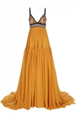 Платье в пол с длинным подолом и вышивкой Giambattista Valli. Цвет: желтый