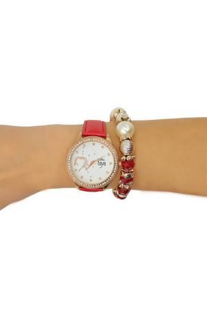 Набор: часы, браслет Taya. Цвет: золотистый, красный