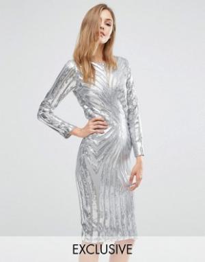 Club L Платье миди с длинными рукавами и отделкой блестками. Цвет: серебряный