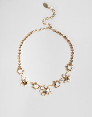 Krystal Ожерелье с цветами и стразами Swarovski London. Цвет: золотой