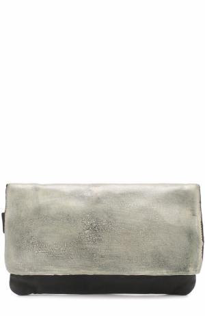 Кожаная поясная сумка с клапаном OXS rubber soul. Цвет: темно-серый