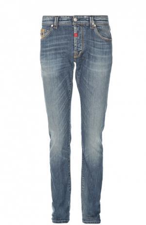 Зауженные джинсы с потертостями Sartoria Tramarossa. Цвет: голубой